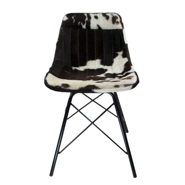 Chair Cow  Black   Leather 50x53x79cm Mars & More