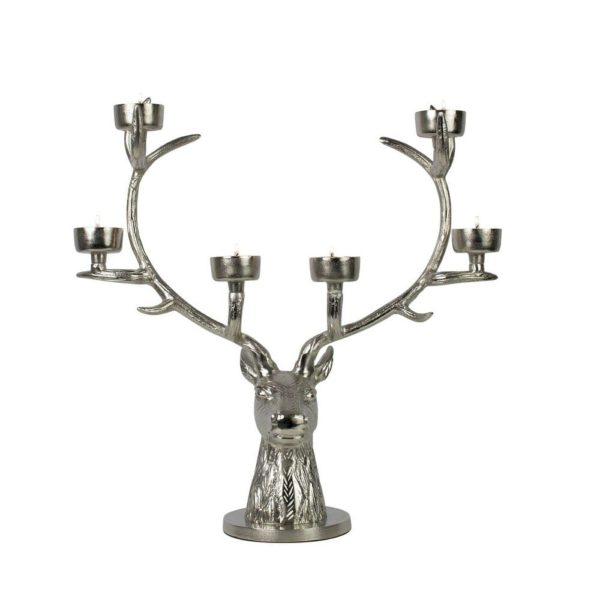 Candlestick Deer  Colored  Round Aluminium 46x14x46cm Mars & More