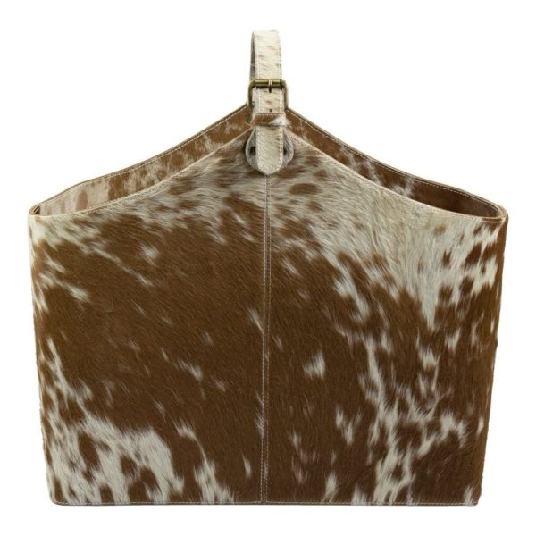 Basket Cow  Brown   Leather 50x21x40cm Mars & More