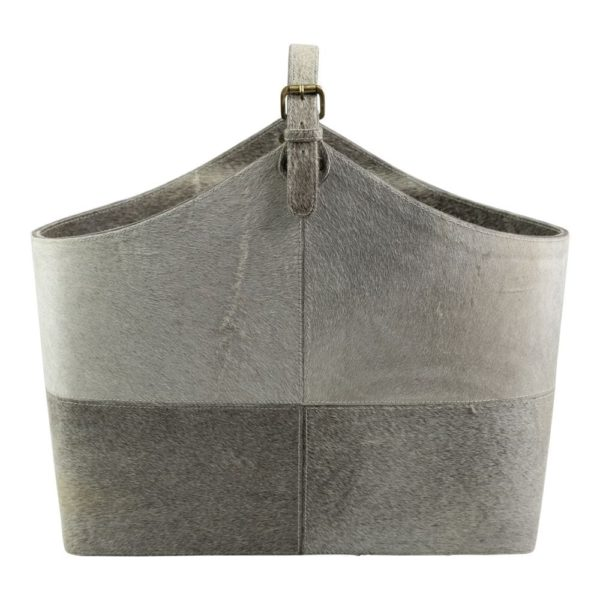 Basket Cow  Gray   Leather 50x21x40cm Mars & More