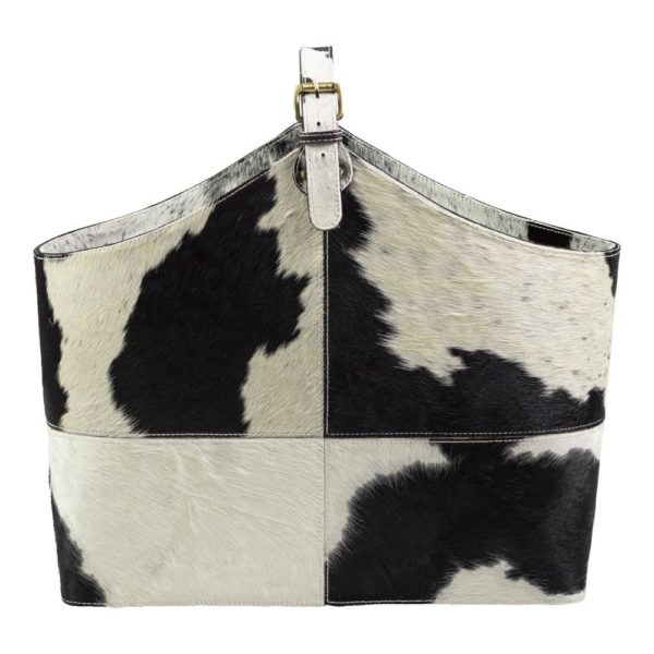 Basket Cow  Black & White   Leather 50x21x40cm Mars & More