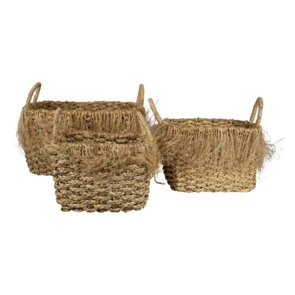 Basket   Colored  Rectangle Seagrass 35x46x26/22x36x24/19x30x22cm Mars & More
