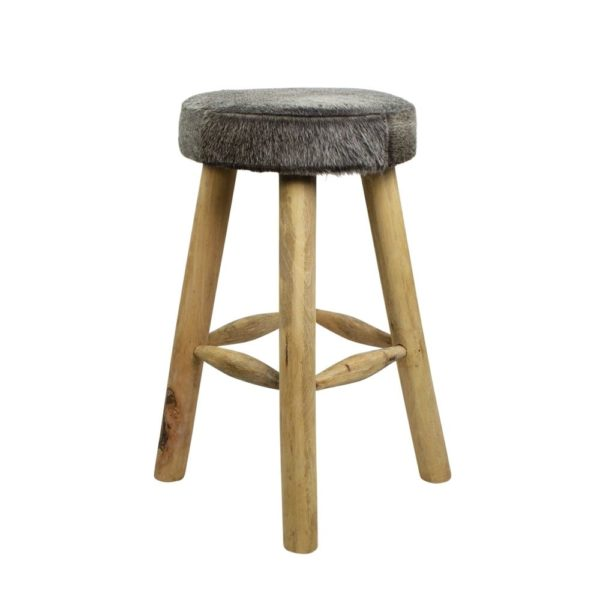 Pouffe Cow  Gray   Leather 35x35x65cm Mars & More