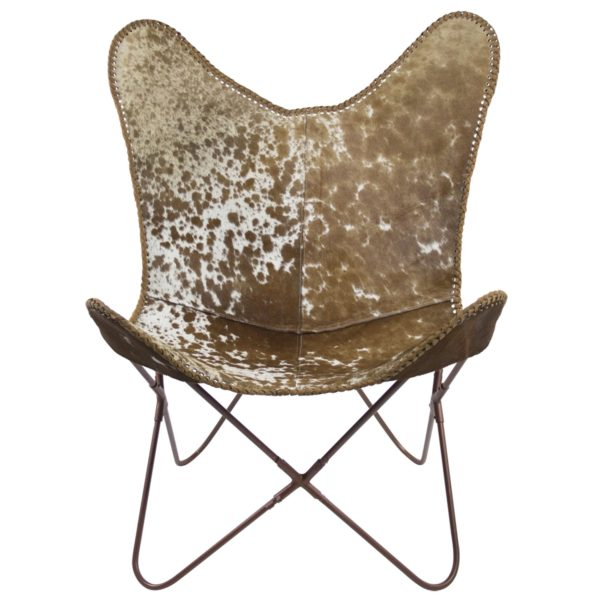 Chair Cow  Brown   Leather 80x75x90cm Mars & More