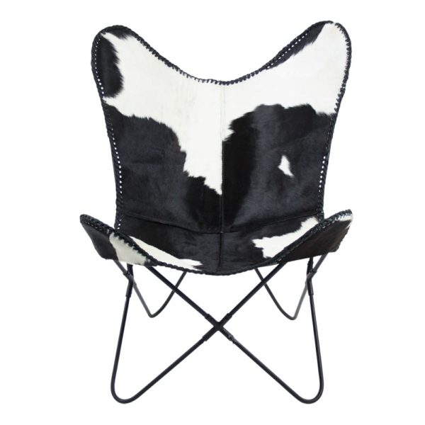 Chair Cow  Black   Leather 80x75x90cm Mars & More