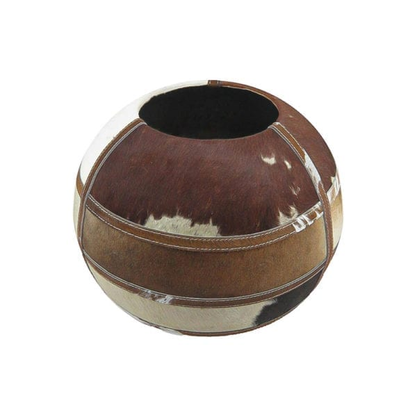 Vase Cow  Brown  Round Leather 35x35x35cm Mars & More