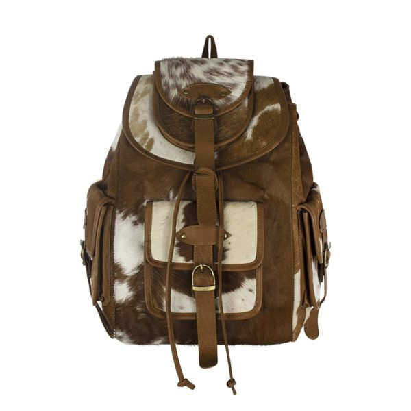 Backpack Cow  Brown   Leather 30x13x39cm Mars & More